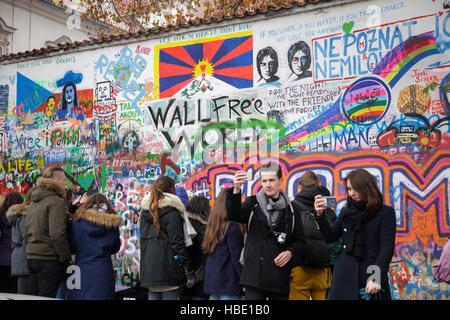 John Lennon Wall, Prague, Czech Republic - Stock Photo