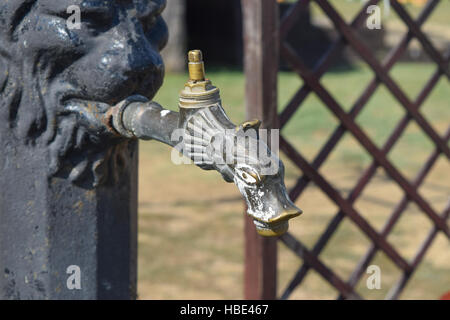 Water tap in the form of a pike - Stock Photo