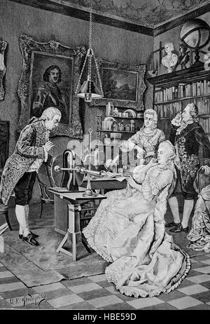 Catherine II of Russia, Catherine the Great, 1729 - 1796, with Lomonossow, illustration, woodcut from 1880 - Stock Photo