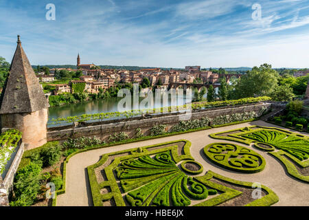 View over River Tarn from Palais de la Berbie, Berbie Palace, Albi, Tarn, France, Europe - Stock Photo