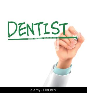 doctor writing dentist word in the air - Stock Photo