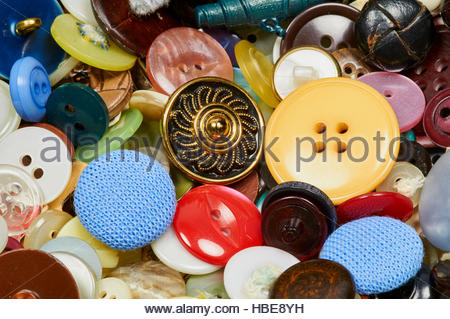 A selection of mixed buttons on a display stand - Stock Photo