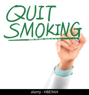 doctor writing quit smoking words in the air - Stock Photo