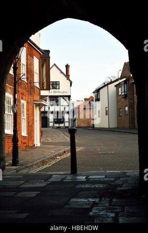 Southampton Old Town, view to the Duke of Wellington pub through Westgate - Stock Photo