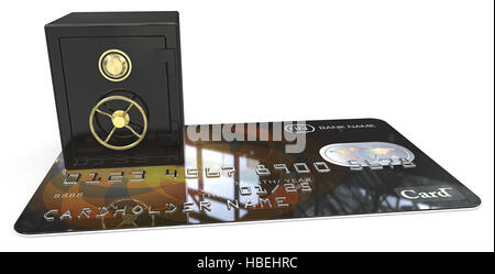 3D render of Credit Card with a Black and Brass Safe. Generic names and numbers, non branded. - Stock Photo