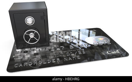 3D render of Credit Card with a Black Steel Safe. Generic names and numbers, non branded. - Stock Photo