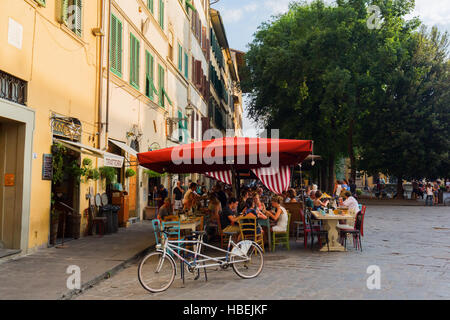 bar on The Piazza Santo Spirito in Florence, Italy - Stock Photo