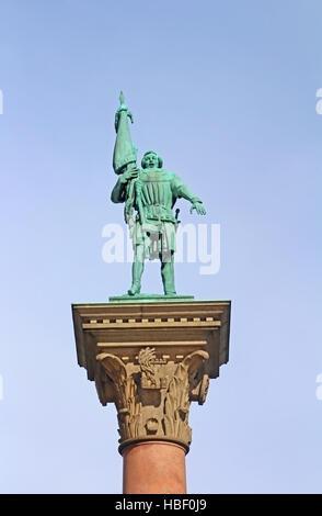 Column with statue of Engelbrekt Engelbrektsson (Swedish rebel leader and later statesman) on the City Hall square - Stock Photo