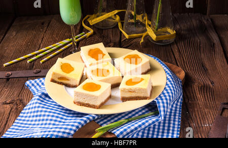 cheesecake with peach - Stock Photo