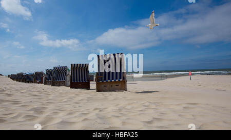 Beach chairs on Norderney Island, Germany - Stock Photo