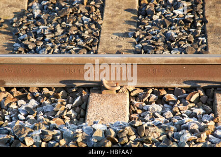 british steel 99-0 frozen train line tracks on a cold winter morning in the uk - Stock Photo