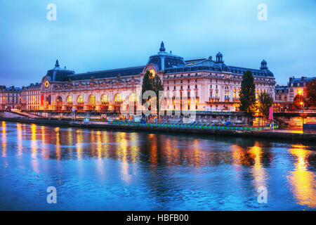 D'Orsay museum building in Paris, France at sunrise - Stock Photo