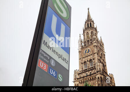 MUNICH - NOVEMBER 30: Marienplatz metro station sign on November 30, 2015 in Munich. It's the 3rd largest city in - Stock Photo
