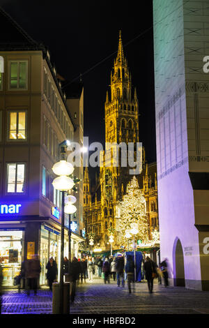 MUNICH - NOVEMBER 30: Overview of Marienplatz with people on November 30, 2015 in Munich. It's the 3rd largest city - Stock Photo