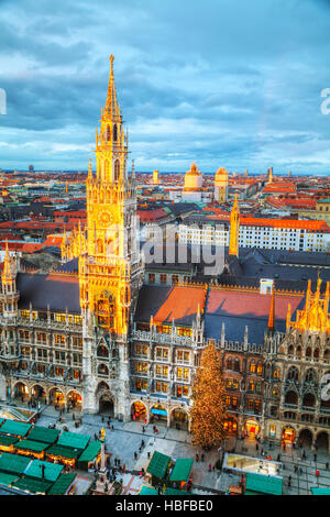 MUNICH - NOVEMBER 30: Aerial view of Marienplatz on November 30, 2015 in Munich. It's the 3rd largest city in Germany, - Stock Photo
