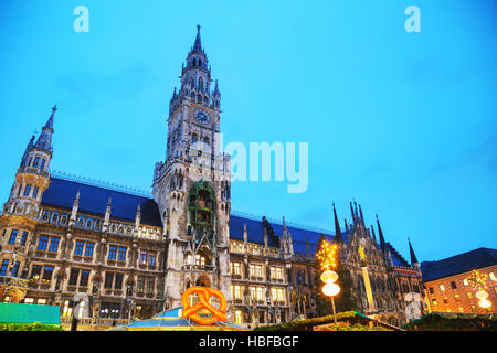 Overview of Marienplatz in Munich, Germany at sunrise - Stock Photo