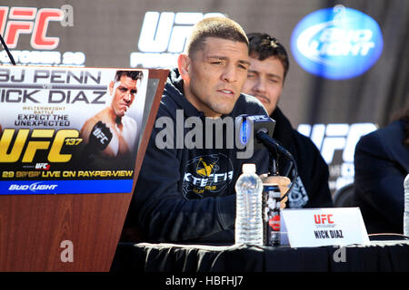 UFC fighter Nick Diaz talks during a press conference for UFC 137 in Las Vegas, Nevada on Thursday, October 27, - Stock Photo