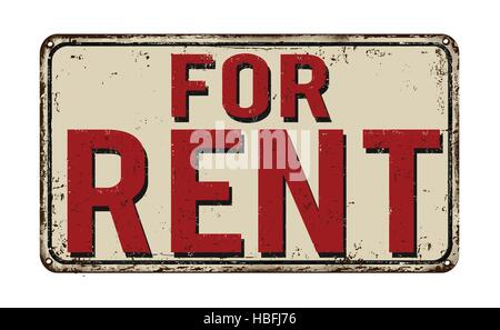 For rent vintage rusty metal sign on a white background, vector illustration - Stock Photo