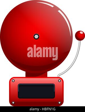 Vector illustration of red fire alarm bell - Stock Photo