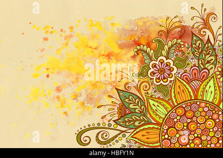 Floral Pattern on Watercolor Painting - Stock Photo