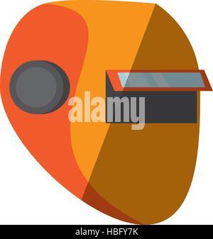 cartoon yellow welder mask eyes security sign shadow vector illustration eps 10 - Stock Photo