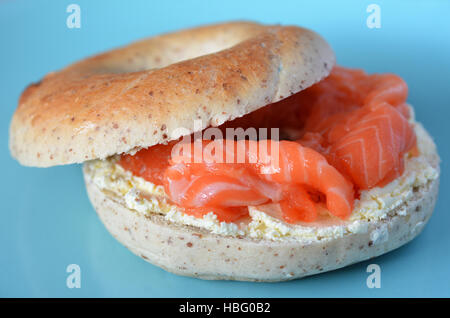 New York Salmon bagel served on a plate. Food background and texture. copy space - Stock Photo