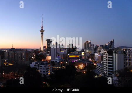 Auckland, New Zealand - July 02, 2016:Urban landscape view of Auckland CBD skyline at dusk.Auckland is frequently - Stock Photo