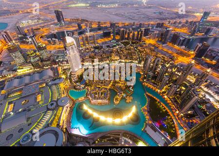 View from Burj Khalifa observation deck, Dubai Fountain, The Address Downtown Burj, Dubai Mall and Souk Al Bahar, - Stock Photo