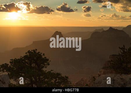 Rock massif, Grand Canyon, sunset, North Rim, Grand Canyon National Park, Arizona, USA - Stock Photo