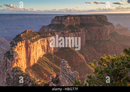 View of Grand Canyon, rock massif, North Rim, Grand Canyon National Park, Arizona, USA - Stock Photo