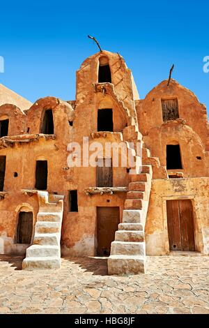 Ksar Ouled Soltane, fortified granary near Tataouine, northern Sahara, Tunisia - Stock Photo