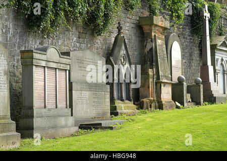 Old graveyard in Glasgow, Scotland, UK - Stock Photo