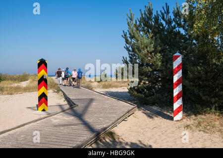 Boardwalk to Baltic Sea beach, Poland-Germany border crossing, Baltic Coast, Ahlbeck, Usedom, Mecklenburg-Western - Stock Photo