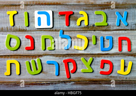 Hebrew alphabet letters and characters background. Foreign language education concept - Stock Photo