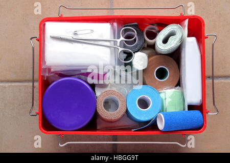 Flat lay view of first aid kit. Medical concept. copy space - Stock Photo