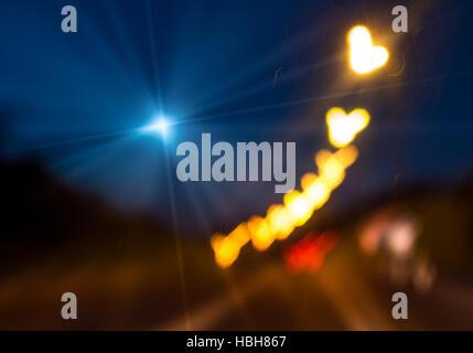 Abstract night city lights bokeh - Stock Photo