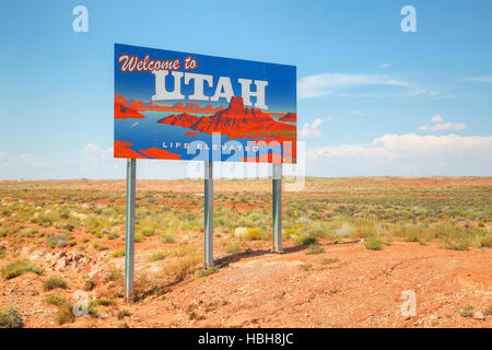 Welcome to Utah road sign - Stock Photo