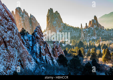Snow covered landscape and rock formations of Garden of the Gods Park, Colorado Springs, Colorado. - Stock Photo
