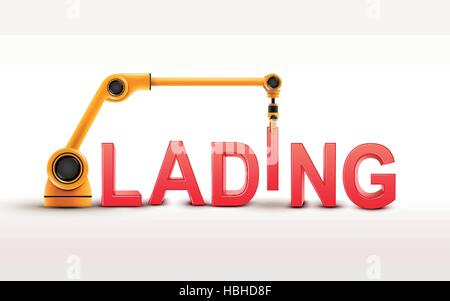 industrial robotic arm building LADING word on white background - Stock Photo