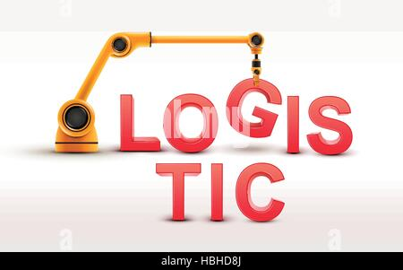 industrial robotic arm building LOGISTIC word on white background - Stock Photo