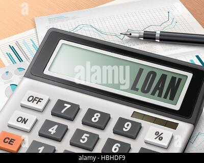calculator with the word loan on the display - Stock Photo