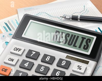 calculator with the word results on the display - Stock Photo
