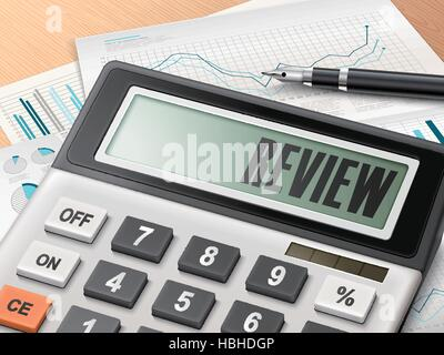 calculator with the word review on the display - Stock Photo