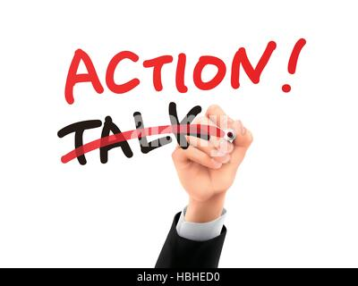 talk replaced by action written by hand on a transparent board - Stock Photo