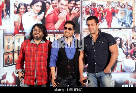 Bollywood Pritam Chakraborty Mika Singh Salman Khan launch Eid song titled Aaj ki party meri taraf se Bajrangi Bhaijaan - Stock Photo