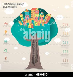 vector infographic template with tree beneath houses - Stock Photo