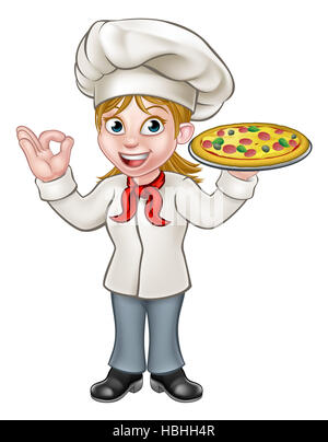 Cartoon woman chef or cook character holding a pizza and giving a perfect okay delicious gesture - Stock Photo