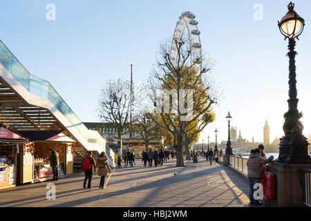 Southbank Centre Christmas Market and London Eye, South Bank, London Borough of Lambeth, Greater London, England, - Stock Photo