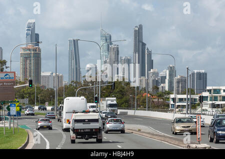 Surfers Paradise skyline from State Route, Southport, City of Gold Coast, Queensland, Australia - Stock Photo