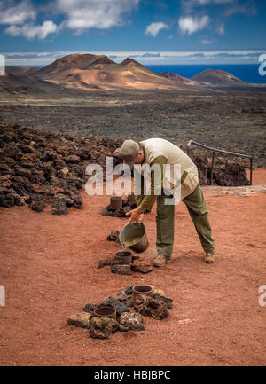 Hot stem vents Timanfaya National Park - Stock Photo